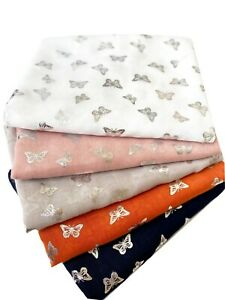 Silver Butterfly Print Scarf Women Light Weight Large size Hijab Shawl Snood