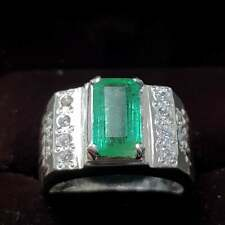 Natural Emerald rings Real Emerald ring Zamurd stone ring Mens Emerald band Ring