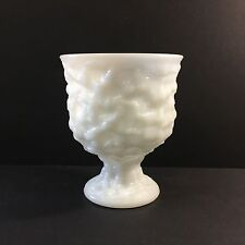 Vintage Large White Textured Milk Glass Pedestal Footed Vase EO Brody Co 6.5""