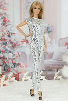 ELENPRIV Silver sequined overalls for Fashion Royalty FR2 dolls
