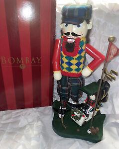 "Rare, BOMBAY CO. 15"" NUTCRACKER GOLFER WITH GOLF CART & CADDY 4300803 With Box"