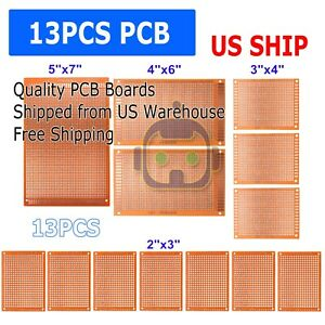 13pc DIY Prototyping Board PCB Printed Circuit Prototype Breadboard Stripboard