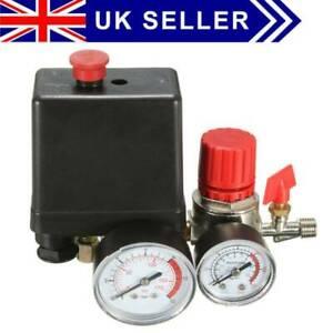 Air Compressor Pressure Switch Control Relief Valve Regulators Gauge 174PSI 240V