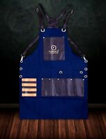 Barber Apron Leather PU Pockets For Hair Cutting Tools Blue Denim Barber Apron