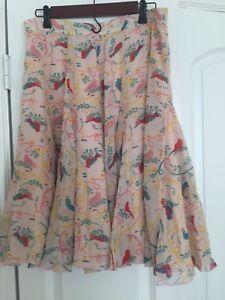 Cacharel pink silk bird skirt size 12
