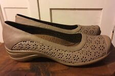 Hush Puppies Slip On Casual Dress Comfort Shoe Taupe Leather Women's 8.5 M