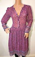 Masscob pink 100% silk floral ditsy boho dress size 12 vintage style hippie