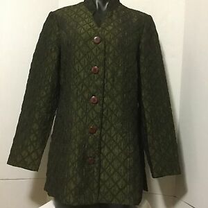 Coldwater Creek Size PM Green Quilted Puffy Blazer Nehru Collar Button Up Coat