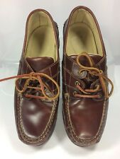 Orvis Mens Boat Shoes Brown Leather Deck Dock Camping Hiking Lace-Up Size 8D