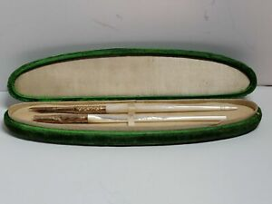 2 ANTIQUE PENS-DIP FOUNTAIN-MOP-GOLD FILLED-6.5 IN W/ NIB-OLD CASE