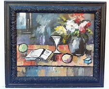 OLD ANTIQUE STILL LIFE OIL PAINTING SIGNED A. ANIORE CUBISM TABLE PICASSO ERA