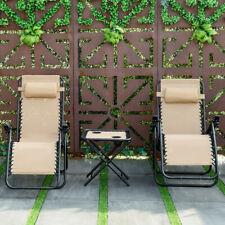 3PC Folding Recliner Zero Gravity Lounge Chairs W/ Portable Table Outdoor Beige
