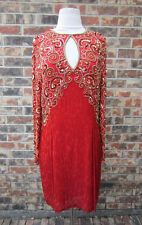 BEAUTIFUL BLACKTIE HEAVY SEQUIN BEADED LONG SLEEVE RED & GOLD DRESS SIZE 14