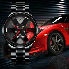 3D TE37 Sports Car Wheel watch Quartz Rim Hub Mens Wrist Watch  Stainless Steel