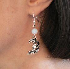 Moonstone & Crescent Moon Earrings Silver-plated Fishhook Healing Pagan Handmade