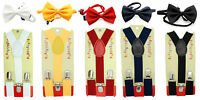 Boys & Girls Clip-on Y-Back Suspender & Bow tie Sets 5 Color