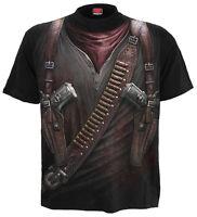 Spiral Direct HOLSTER WRAP T-Shirt Rock/Biker/Gun/Skull/Knife/Goth/Top/Tee