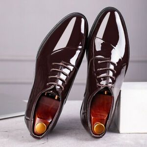 Men's Black Patent Leather Tuxedo Dress Shoes Formal Shiny Wedding Prom Oxfords