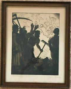 GARA ARNOLD SIGNED FANTASY SURREALISM ENGRAVING PRINT 'DELIBAB' 19TH CENTURY