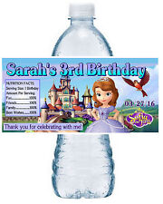 20 PRINCESS SOFIA THE FIRST BIRTHDAY PARTY FAVORS WATER BOTTLE LABELS scene