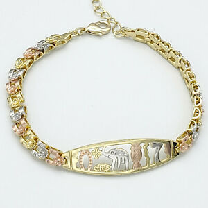 Tri-Color Gold Plated GOOD LUCK Bracelet. Pulsera Buena Suerte Oro laminado.