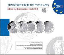 5 x 10 Euro Gedenkmünzenset 2012 Silber PP Friedrich, Welthungerhilfe, Grimm ...