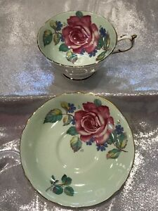 Paragon Tea Cup and Saucer, Cabbage Rose, Mint Green Double Warrant Teacup