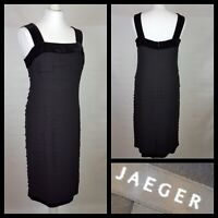 Jaeger Black Dress 100% Silk Tiered Velvet Trim Size 10