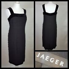 Jaeger Black 100% Silk Tiered Velvet Trim Dress Size 10
