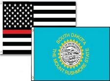 3x5 Usa Thin Red Line South Dakota State 2 Pack Flag Wholesale Set Combo 3'x5'