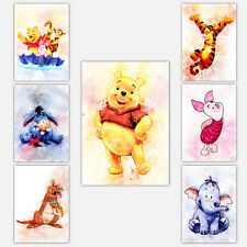 WINNIE THE POOH Collection Watercolour Art Print Nursery Wall Picture Poster