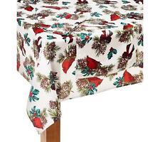 Christmas Cardinals Pinecones Microfiber Tablecloth 52 x 70 Oblong