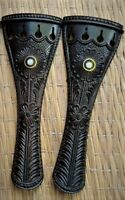 Beautiful Hand Carved Violin Tailpiece 4/4 Size Ebony wood- 2 Pcs 👍