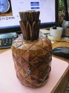 Antique Treen wooden tea caddie pineapple! lock & key, Wow Rare!