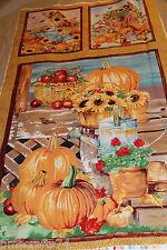 Fall Harvest Thanksgiving Farmer Market 100% Cotton Fabric PANEL free ship USA