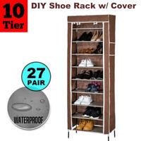 10 Tier 27 Pairs Shoe Rack Cabinet Storage Organiser Stand + Dustproof Cover