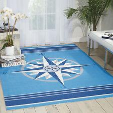 "5x8 (5'3"" x 7'5"") Nautical Compass Coastal Blue Indoor Outdoor Area Rug"