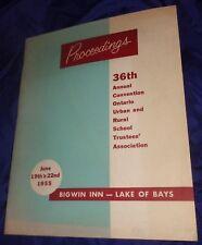 BR2044 Vtg 1955 Bigwin Inn Annual Convention School Trustees Assoc 95pgs Muskoka