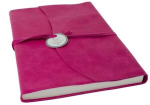 Capri Leather Journal Fuchsia, A4 Lined Pages - Handmade in Italy