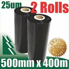 2 Rolls 500mm x 400m 25um Black Stretch Film Pallet Wrap Wrapping BEST PRICE