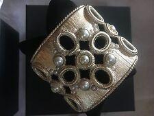 CHANEL  PEARL & CC LOGO BRUSHED GOLD BRACELET 16P STAMP