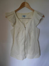CUE SHIRT, SIZE 6, WHITE/YELLOW/GREY PINSTRIPE, ZIP FRONT, CAREER BLOUSE
