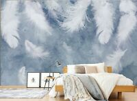 3D Bedroom White Feather R694 Wallpaper Wall Mural Self-adhesive Commerce Amy