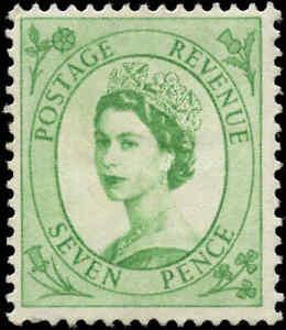 1955 Mint Great Britain F+ Scott #326 7p Stamp Hinged
