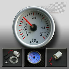 "BOOST GAUGE UNIVERSAL 52MM / 2"" WHITE FACE WITH FULL PLASMA GLOW DISPLAY"