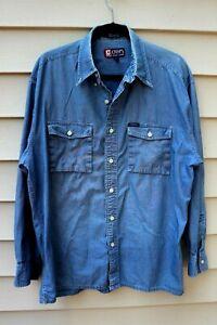 Vintage Chaps Ralph Lauren Denim Shirt Chambray Button Down Size L