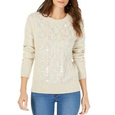 INC Women's Embellished Cable Knit Crewneck Sweater Top TEDO