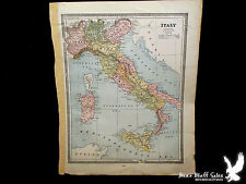 Original 1883 Cram Atlas Hand Colored Old Map Italy Turkey Greece Bulgaria MORE