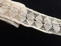 "Antique Lace Trim Crochet Tape Salvage Vintage Sewing Costume Doll Cotton 31"""