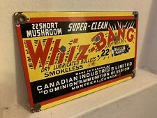 VINTAGE WHIZ-BANG BULLETS CANADIAN PORCELAIN GAS OIL ENAMEL SIGN GUNS HUNTING AD